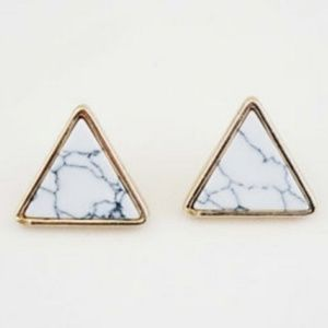 NEW Triangle Marble Print Stud Earrings GOLD TONE